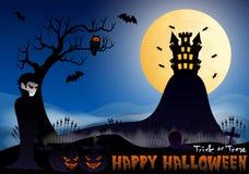 Счастливая иллюстрация вектора хеллоуина с вампиром, тыквой, летучей мышью, замком, деревом и кладбищем Стоковые Фотографии RF