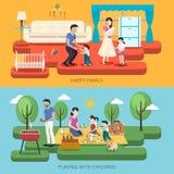Счастливая иллюстрация времени семьи иллюстрация вектора