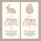 Счастливая иллюстрация карточек пасхи с декоративной флористической пасхой например Стоковые Изображения
