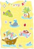 Счастливая карта сокровища пасхи с милыми животными Стоковое фото RF