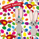 Счастливая картина пасхи безшовная Кролик, яичка, птица, лента Стоковое фото RF