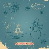 Счастливая карточка года сбора винограда doodle Нового Года Стоковое Изображение