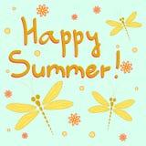 Счастливая карточка лета с dragonflies Стоковые Изображения