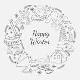 Счастливая карточка зимы Стоковая Фотография RF