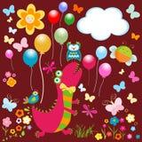 Счастливая карточка динозавров Стоковое Изображение RF