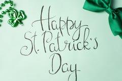 Счастливая карточка каллиграфии дня St. Patrick Стоковые Фото