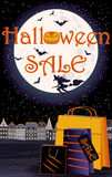 Счастливая карточка магазина приглашения продажи хеллоуина бесплатная иллюстрация