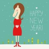 Счастливая карточка Нового Года на 2014 года лошади Бесплатная Иллюстрация