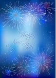 Счастливая карточка Нового Года с голубыми фейерверками иллюстрация штока