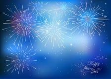 Счастливая карточка Нового Года с голубыми фейерверками иллюстрация вектора