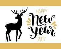 Счастливая карточка Нового Года 2017 с оленями нарисованными рукой винтажными Стоковое Изображение RF