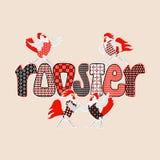Счастливая карточка Нового Года с петухами и курицами иллюстрация штока