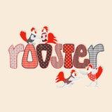 Счастливая карточка Нового Года с петухами и курицами бесплатная иллюстрация