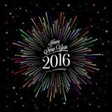 Счастливая карточка Нового Года с цветом Starburst Стоковая Фотография RF