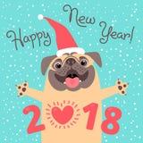 Счастливая карточка 2018 Новых Годов Смешной мопс поздравляет на празднике бесплатная иллюстрация