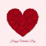 Счастливая карточка дня валентинок с большим красным бумажным сердцем Стоковое фото RF