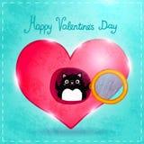 Счастливая карточка дня валентинок с котом бесплатная иллюстрация