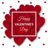 Счастливая карточка дня валентинок с красными сердцами на белой предпосылке Стоковые Фотографии RF