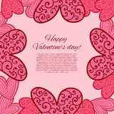 Счастливая карточка дня валентинок. иллюстрация штока