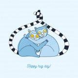 Счастливая карточка дня объятия красочной иллюстрация нарисованная рукой с лемурами Стоковое фото RF