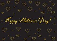 Счастливая карточка дня ` s матери с сердцами handlettering и мозаики Золото на черной предпосылке иллюстрация вектора