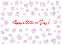 Счастливая карточка дня ` s матери с handdrawn и handlettering элементами на белой предпосылке Розовые цветки иллюстрация вектора