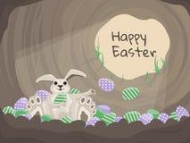 Счастливая карточка пасхи, предпосылка вектора с кроликом и яичка Стоковое Изображение