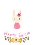 Счастливая карточка пасхи с цветками, зайчиком и текстом Иллюстрация штока