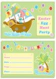 Счастливая карточка приглашения партии охоты яичка ` s детей пасхи Стоковая Фотография