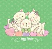 Счастливая карточка семьи Стоковые Изображения