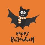 Счастливая карточка хеллоуина с летучей мышью потехи Стоковые Фото