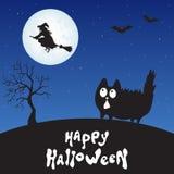 Счастливая карточка хеллоуина с котом, ведьмой и луной шаржа Стоковое фото RF