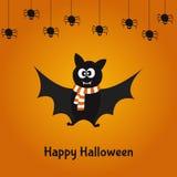 Счастливая карточка хеллоуина с милой летучей мышью и пауками Стоковая Фотография RF