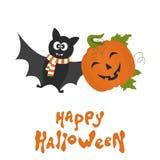 Счастливая карточка хеллоуина с милой тыквой и летучей мышью шаржа Стоковые Изображения