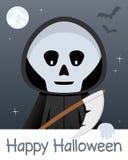 Счастливая карточка хеллоуина с мрачным жнецом Стоковые Фото