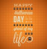 Счастливая карточка хеллоуина с призраками иллюстрация штока