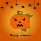 Счастливая карточка хеллоуина с ужасной тыквой Стоковая Фотография RF