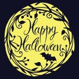 Счастливая карточка хеллоуина с луной и летучей мышью Стоковая Фотография RF