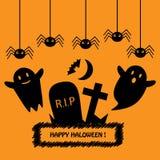 Счастливая карточка хеллоуина с черными силуэтами на оранжевой предпосылке Стоковые Изображения