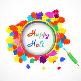 Счастливая карточка holi с цветом брызгает и pichkari также вектор иллюстрации притяжки corel Стоковое Изображение RF