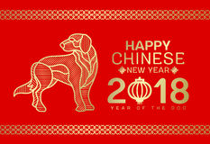 Счастливая китайская карточка Нового Года 2018 с линией конспектом собаки золота нашивки на красном дизайне вектора предпосылки Стоковое фото RF