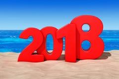 Счастливая концепция 2018 Новых Годов Знак 2018 Новых Годов на солнечном пляже Стоковые Изображения