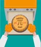 Счастливая концепция дня Pi наблюдала каждым 14-ое марта Editable искусство зажима Стоковое Изображение