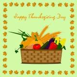 Счастливая корзина официальный праздник в США в память первых колонистов Массачусетса с овощами Иллюстрация штока
