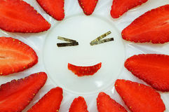 Счастливая клубника Стоковая Фотография