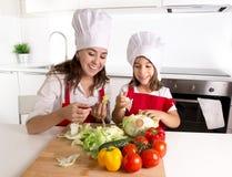 Счастливая мать и маленькая кухня дочери дома подготавливая салат в шляпе рисбермы и кашевара Стоковые Изображения RF