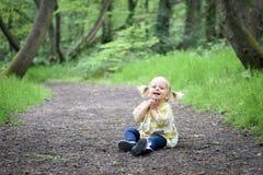Счастливая маленькая девочка в древесине Стоковое Изображение