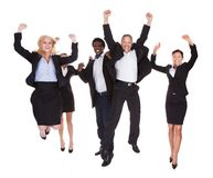 Счастливая мульти-расовая группа в составе бизнесмены Стоковое фото RF