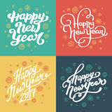Счастливая нарисованная рука Нового Года помечающ буквами установленные открытки Стоковые Фотографии RF