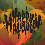 Счастливая нарисованная рука хеллоуина помечающ буквами открытки с тыквами Стоковые Изображения